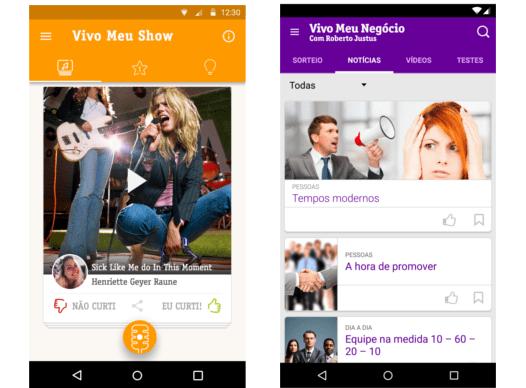 Imagens da tela do app de concurso musical Meu Show e do concurso de empreendedorismo Meu Negócio, da Vivo