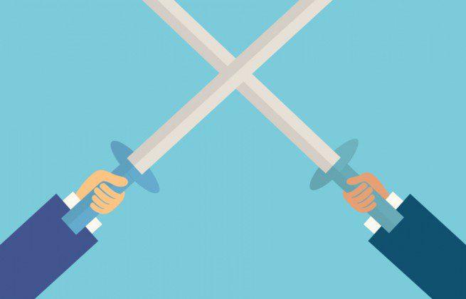 two business man fighting with sword,business concept,illustration,vector, disputa, luta, conflito, espadas, força, entidades