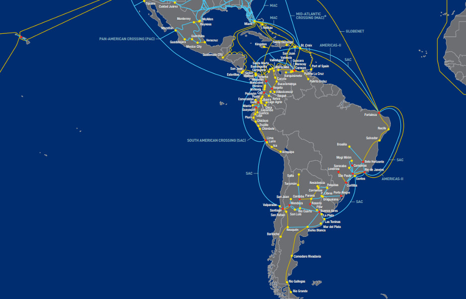 rede level 3 america latina mapa